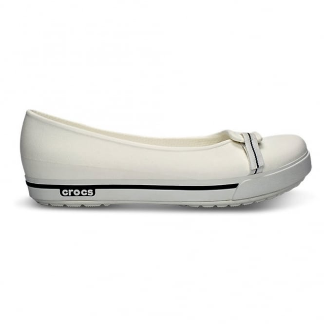 Crocs Womens Crocband II.5 Flat White/Navy, comfort in a stylish ballet pump