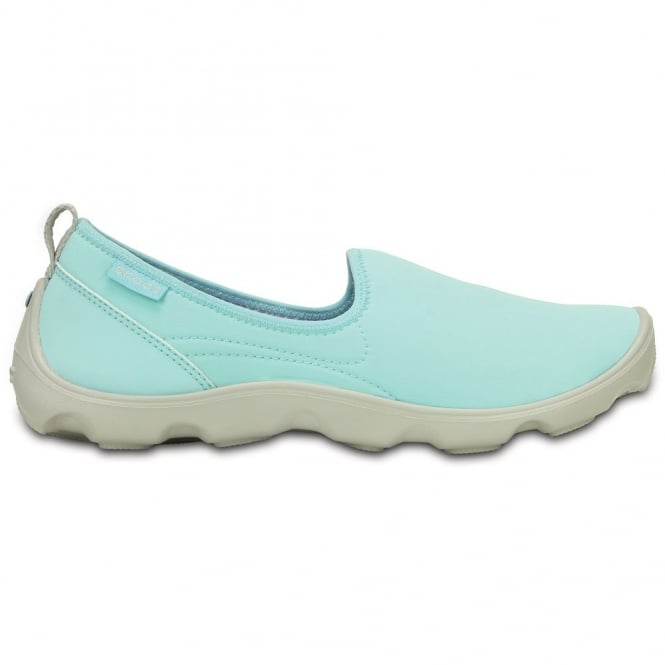 Crocs Womens Duet Busy Day Skimmer Ice Blue/Pearl White, Comfort footbed with soft stretchy shell uppers