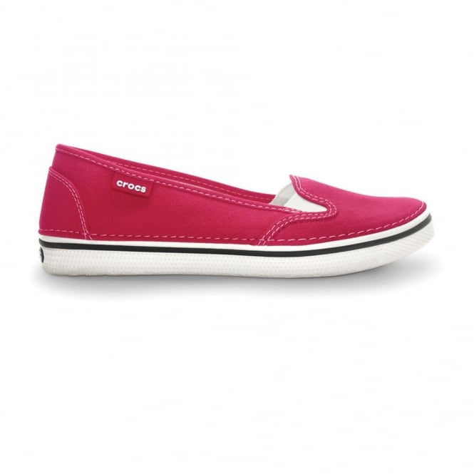 Crocs Womens Hover Slip On Raspberry, Light weight canvas slip on ballet style shoe