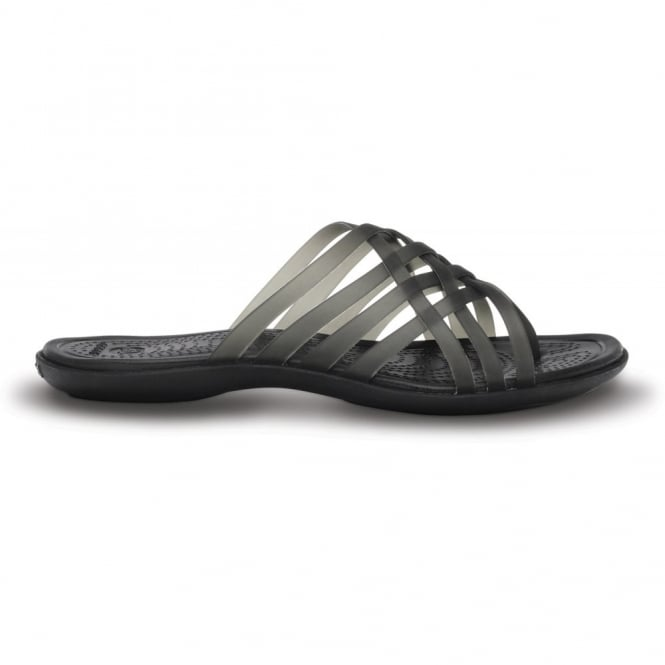 Crocs Womens Huarache Flip Black/Black, Comfortable playful, strappy flip