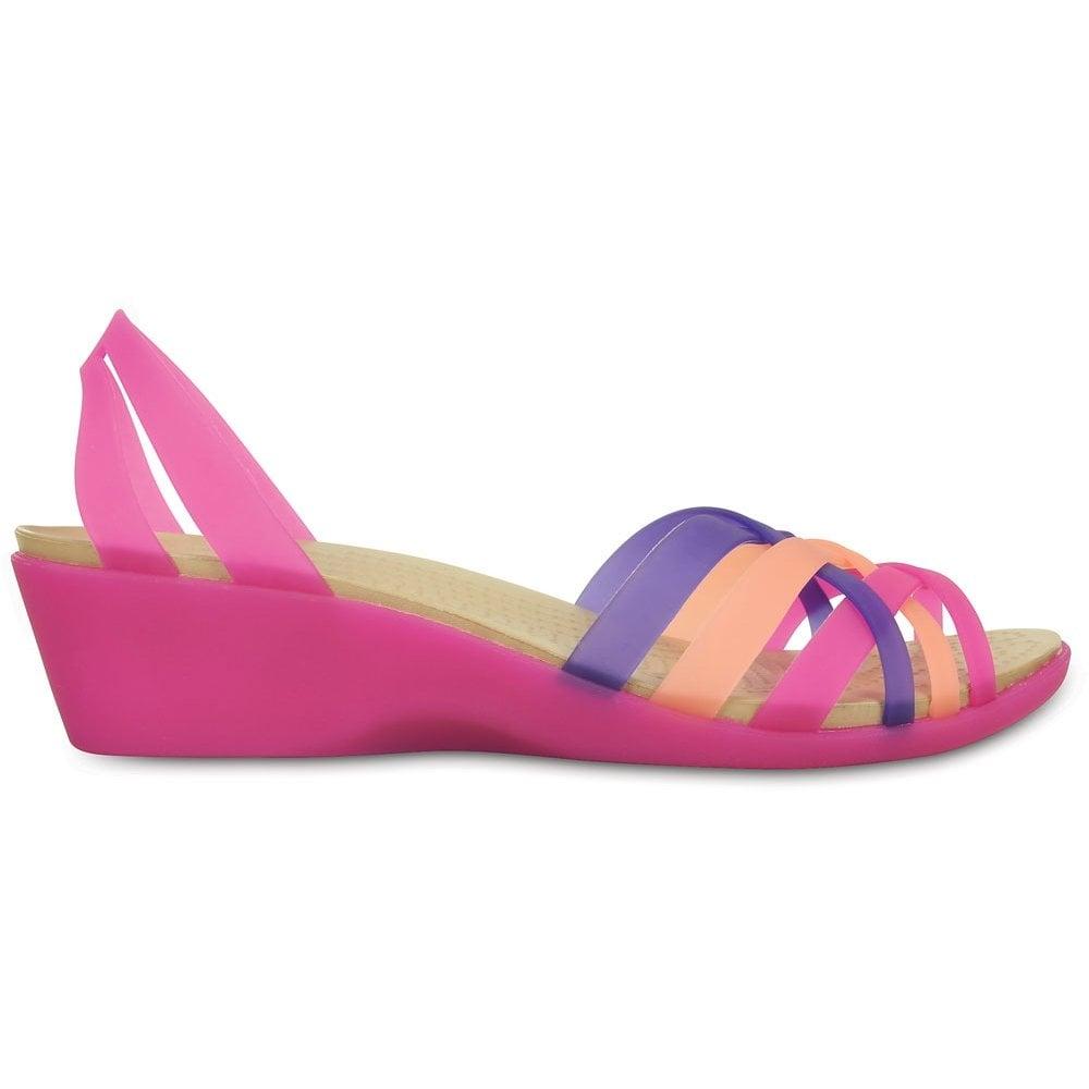 5010e085dec8 Crocs Womens Huarache Mini Wedge Violet Melon