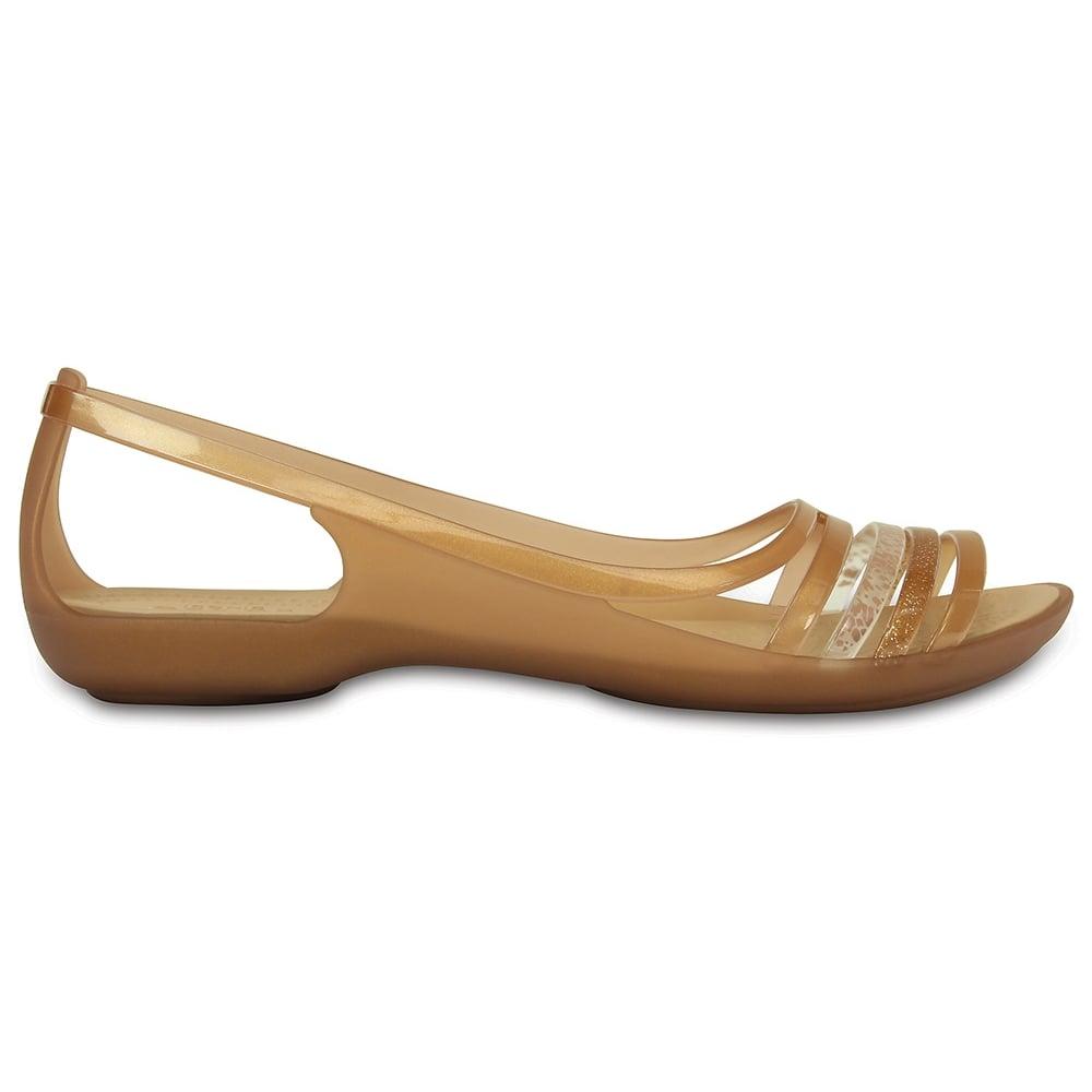 e86981e68a9c5 Crocs Womens Isabella Huarache Flat Bronze