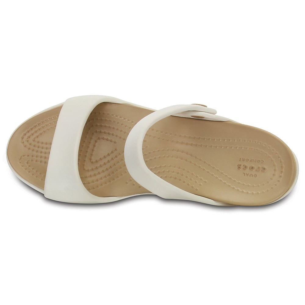 1bf03a61b228 Crocs Womens Sandal Cleo V Oyster Gold