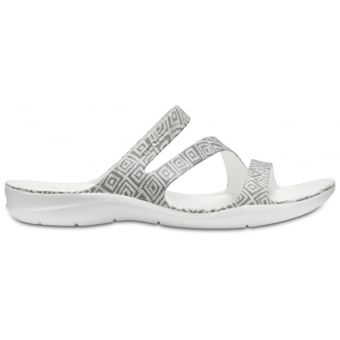 Crocs Womens Swiftwater Graphic Sandal Diamond Grey/White, Water friendly and lightweight