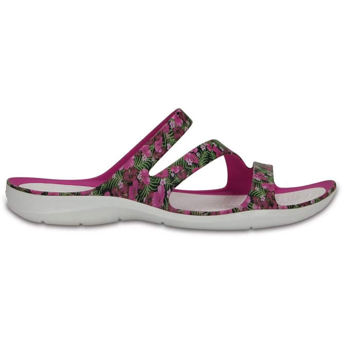 Crocs Womens Swiftwater Graphic Sandal Pink/Floral, Water friendly and lightweight