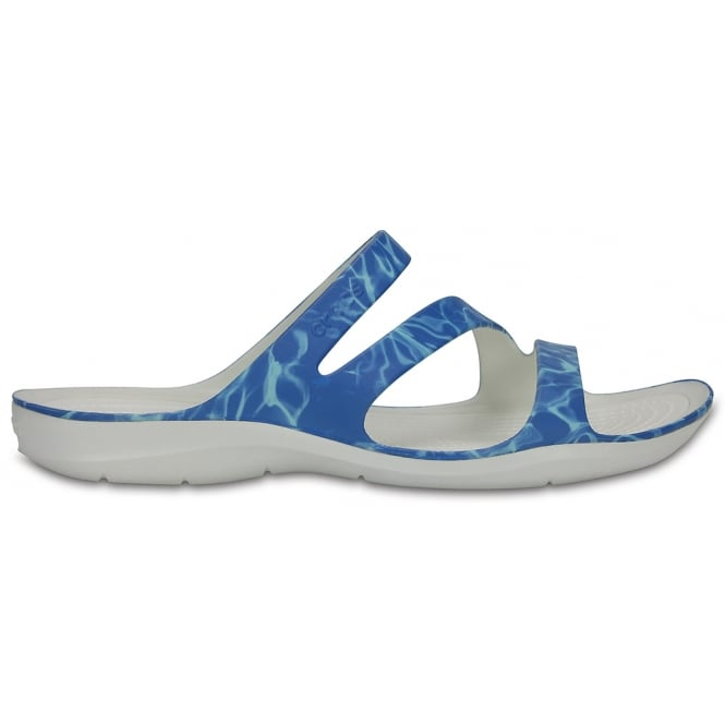 Crocs Womens Swiftwater Graphic Sandal Water/White, Water friendly and lightweight