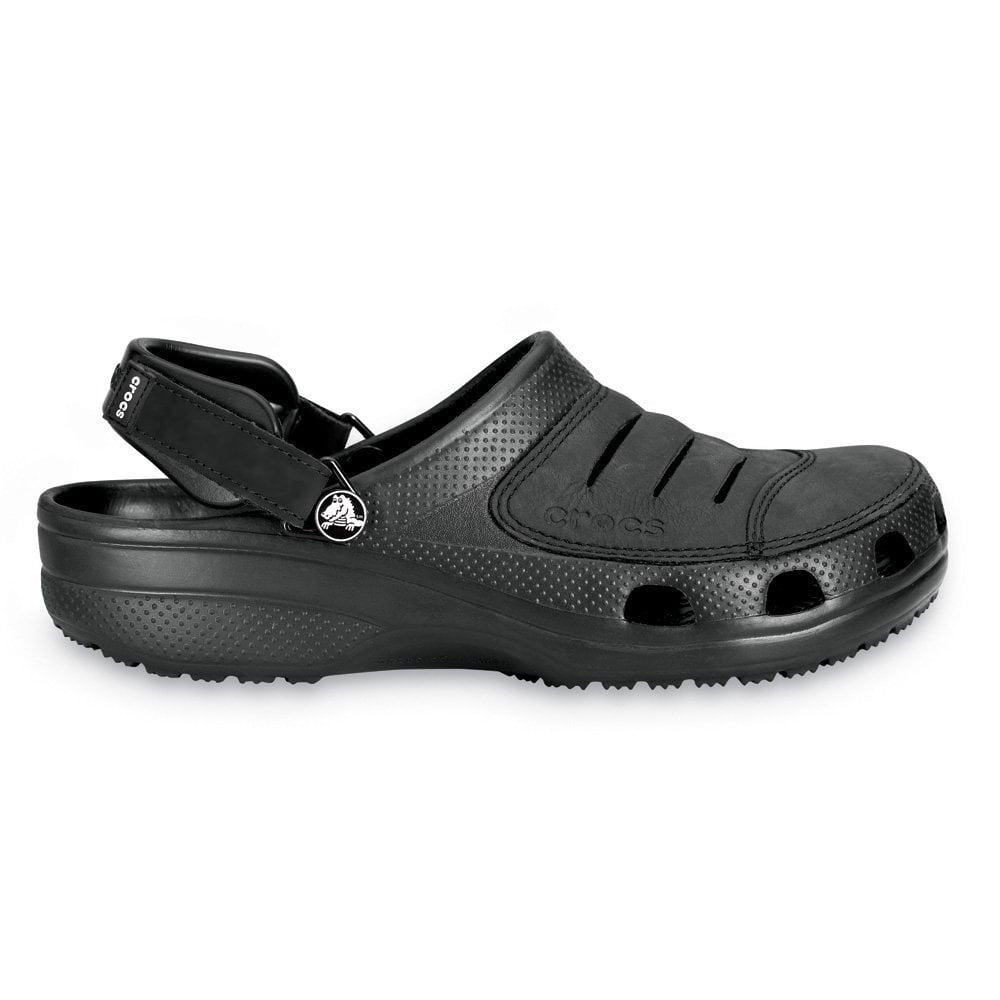 Crocs Yukon Shoe Black A Leather Topped Croslite Clog
