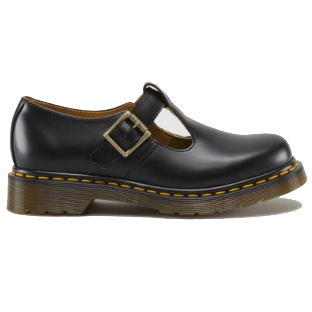 fb5a005ba9 Dr Martens Adult Polley Shoe Black, Yellow Stitch, Single buckle shoe