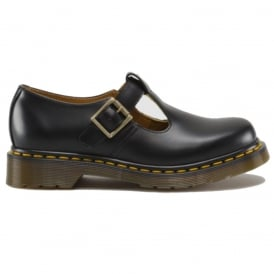 Dr Martens Adult Polley Shoe Black, Yellow Stitch, Single buckle shoe