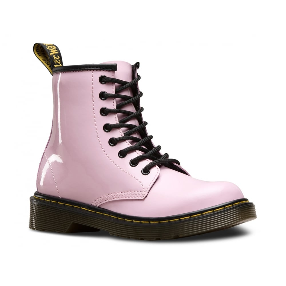 Dr Martens Delaney Boot Patent Baby Pink Junior - Kids from Jellyegg UK c54b6795bcad