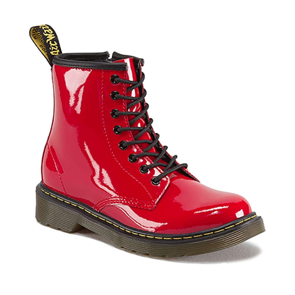 Dr Martens Delaney Boot Patent Red Junior Kids From