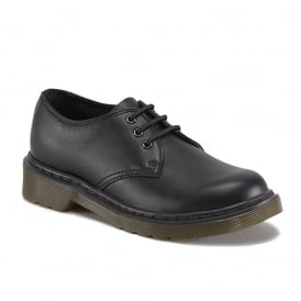 Everley Youth Black, lace up comfort school shoe
