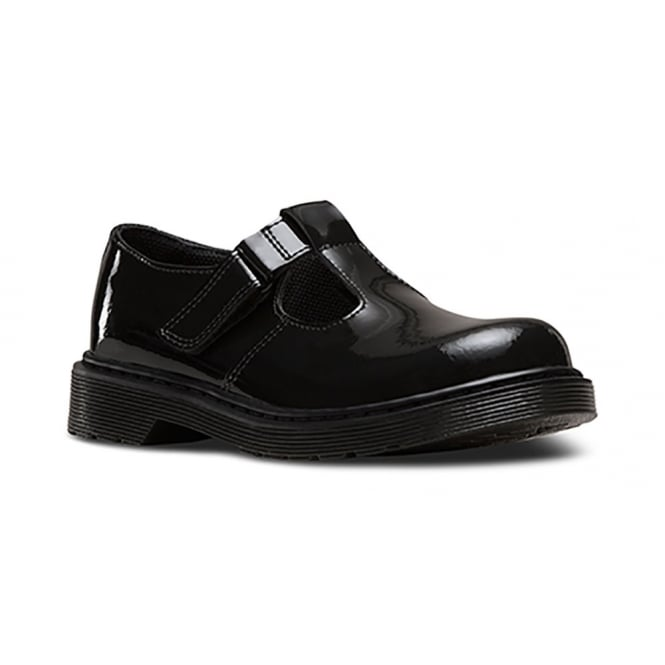 Dr Martens Goldie T Bar Patent Black Junior