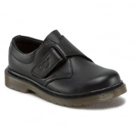 Dr Martens Kids Sammy Black shoe, Strap easy on school shoe