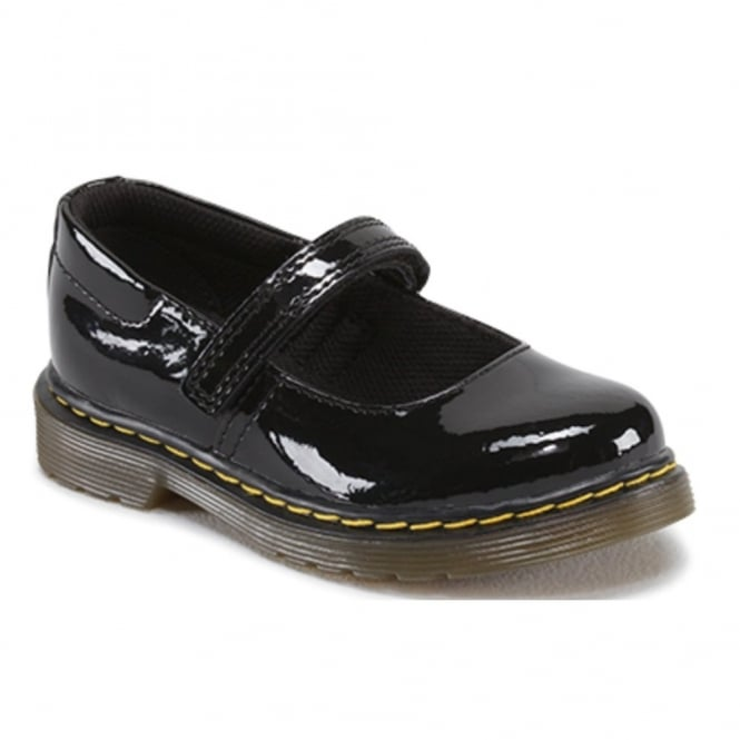 Dr Martens Kids Tully Patent Black, Mary jane style school shoe