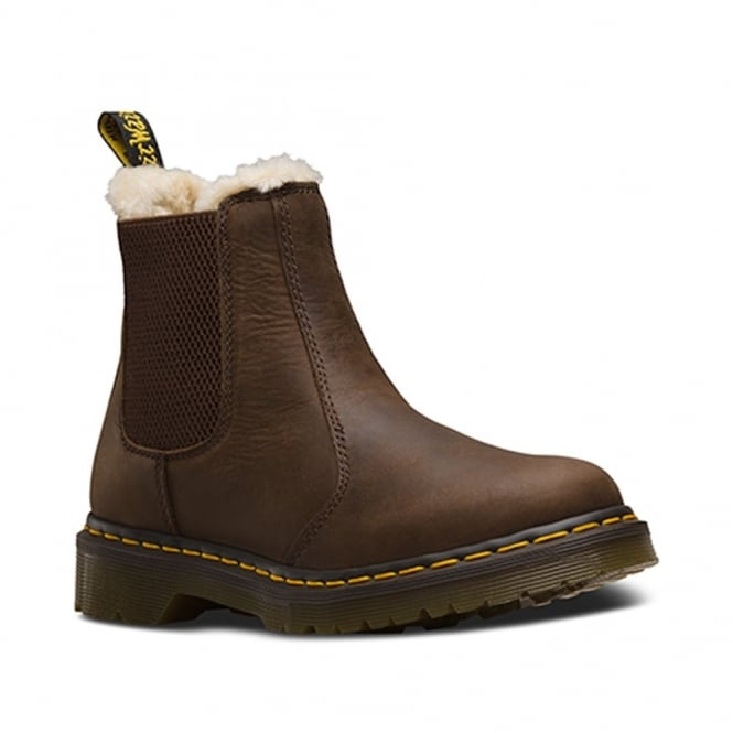 Dr Martens Leonore Chelsea Boot Dark Brown, slip on leather chelsea boot