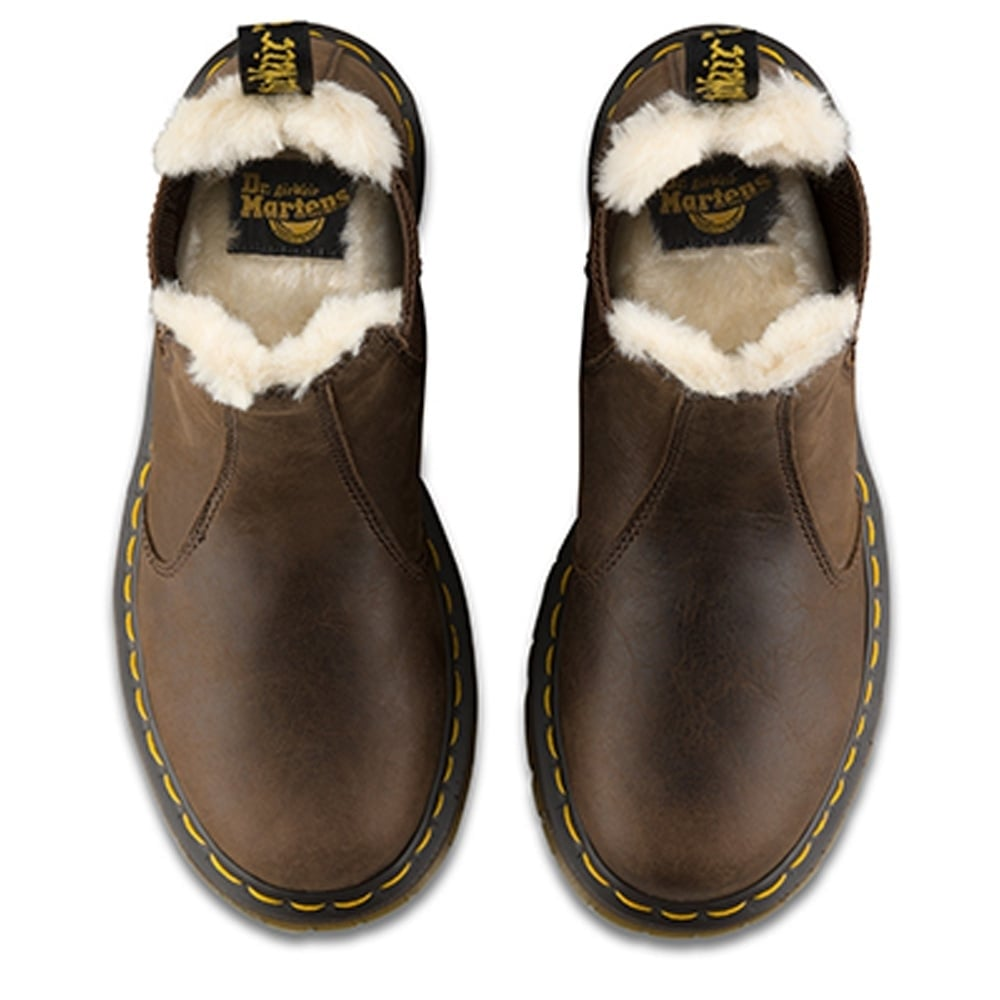 329403dca81 Dr Martens Leonore Chelsea Boot Dark Brown, slip on leather chelsea ...