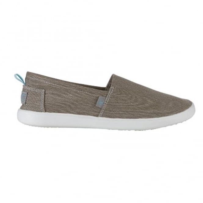 Dude Capri Stretch Beige, compact shape canvas slip on shoe