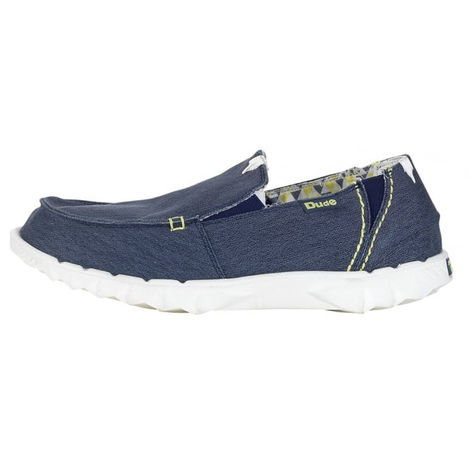 Dude Farty Stretch Navy canvas slip on mule with extra added stretch