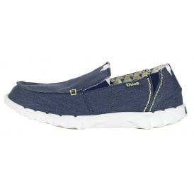 Farty Stretch Navy canvas slip on mule with extra added stretch