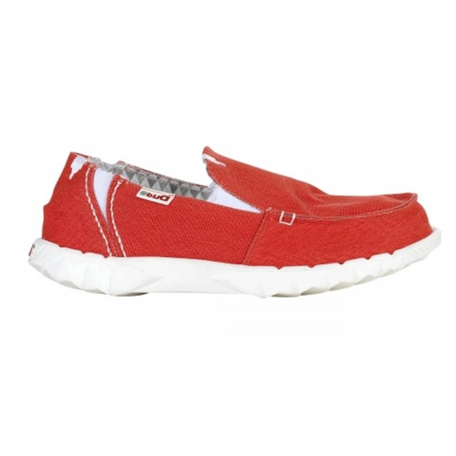 Dude Farty Stretch Red, canvas slip on mule with extra added stretch