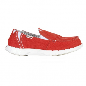 Farty Stretch Red, canvas slip on mule with extra added stretch