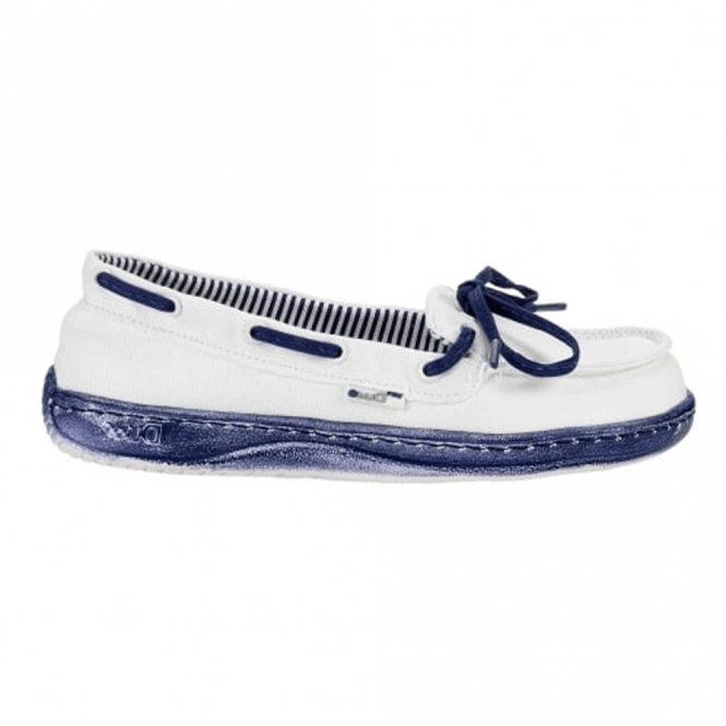 Dude Moka Ladies Deck shoe White/Navy, lightweight comfort slip on shoe