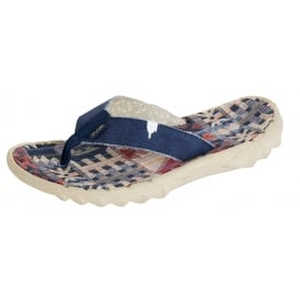 Dude Sava Flip Flop Incas Red, Canvas top flip