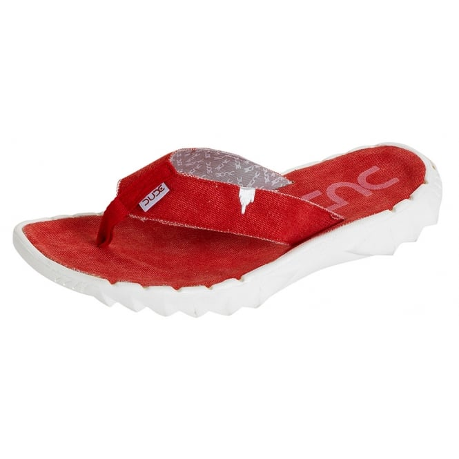 Dude Sava Flip Flop Red, Canvas top flip