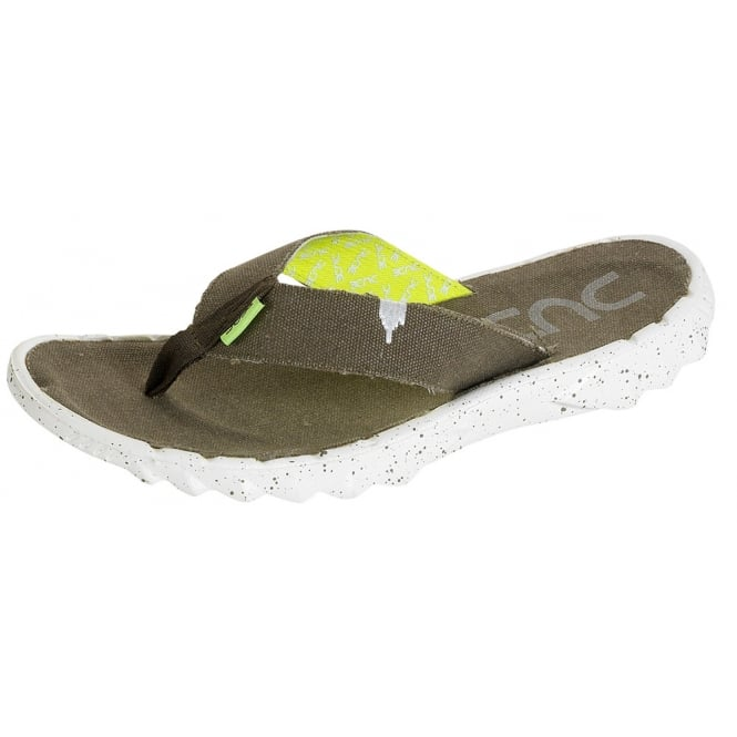 Dude Sava Funk Flip Flop Olive, Canvas top flip