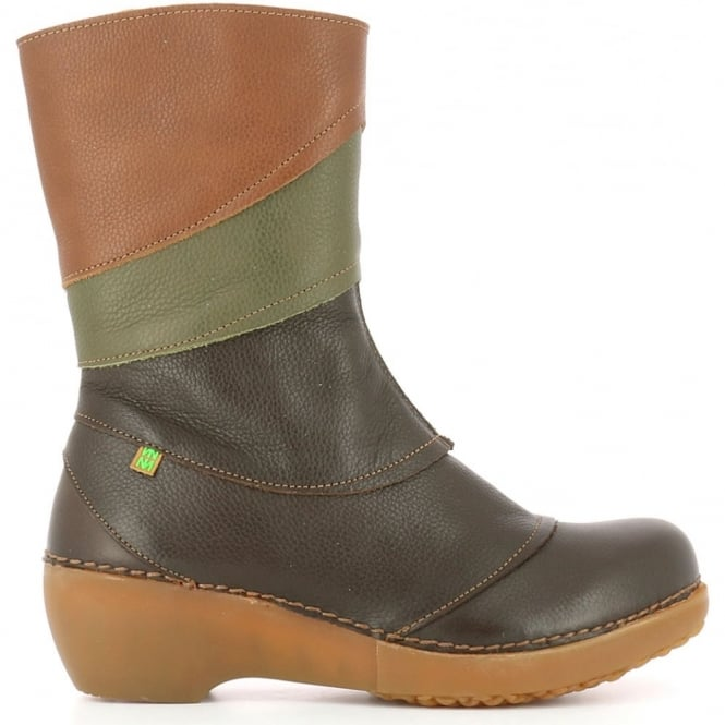 El Naturalista NC47 Tricot Brown/Kaki/Wood, multicoloured leather zip up boot