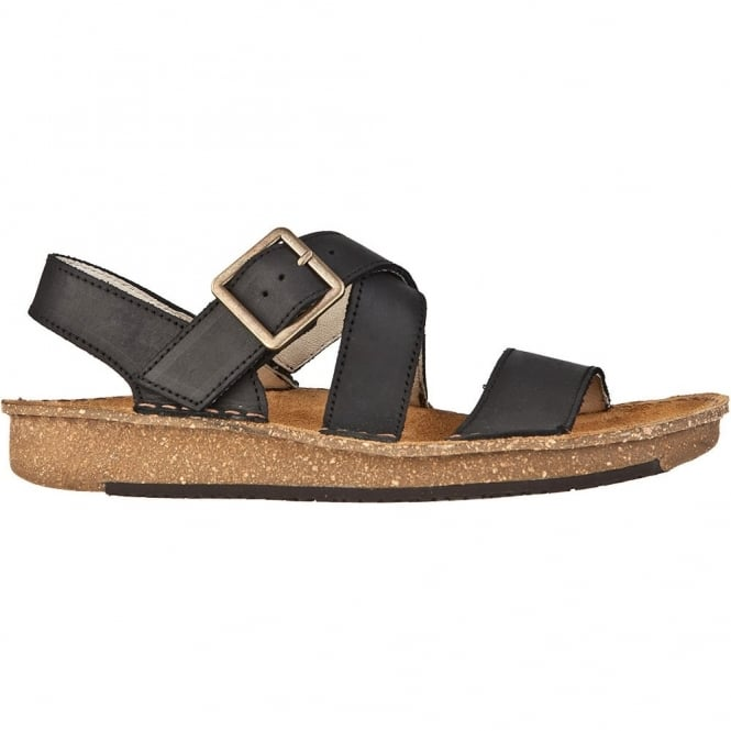 El Naturalista ND30 Contradiction Sandal Black, chunky leather sandal