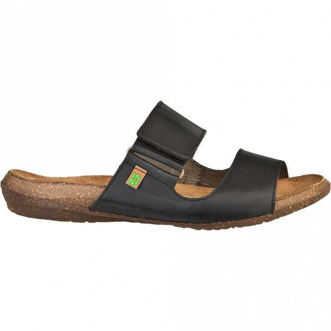 El Naturalista ND75 Wakataua Slide Black, leather slip on sandal