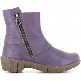 NE28 Yggdrasil Purple, leather zip up ankle boot