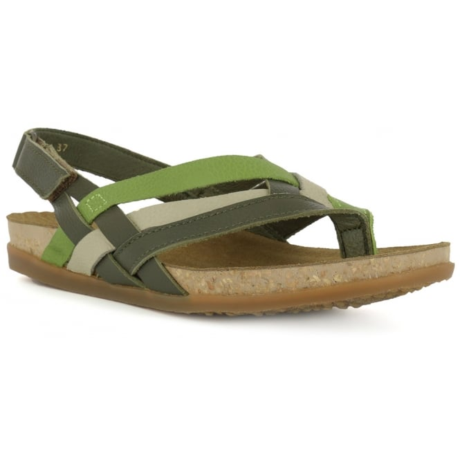 El Naturalista NF47 Zumaia Sandal Kaki, Leather Toe post sandal