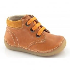 Froddo Mini Lace up boot G2130053-6 Orange, Soft Leather Toddler Shoe
