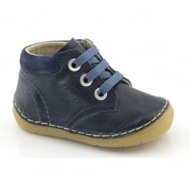 Froddo Mini Lace up boot G2130053 Dark Blue, Soft Leather Toddler Shoe