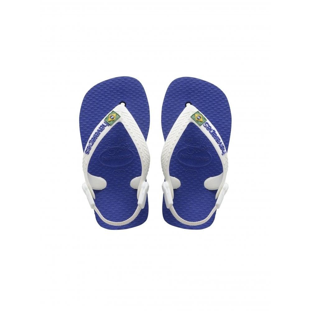 havaianas baby brasil logo marine blue the original flip flop with elastic back strap kids. Black Bedroom Furniture Sets. Home Design Ideas
