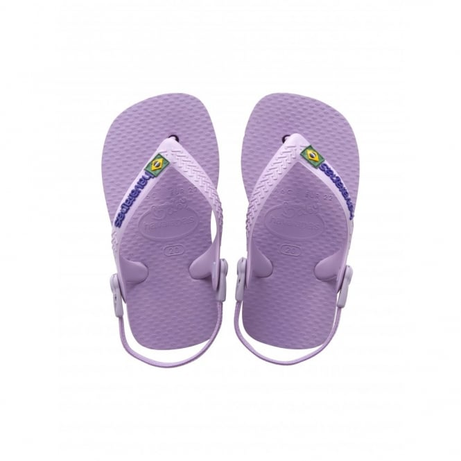 Havaianas Baby Brasil Logo Soft Lilac, the original flip flop with elastic back strap