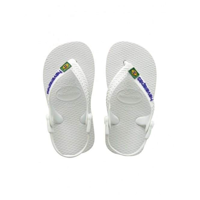 Havaianas Baby Brasil Logo White, the original flip flop with elastic back strap