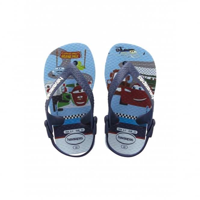 Havaianas Baby Pixar Lavender Blue Cars, the original flip flop with elastic back strap