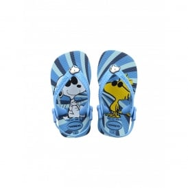 Baby Snoopy Turquoise, the original flip flop with elastic back strap