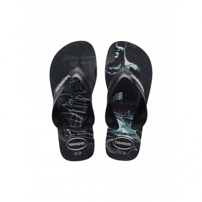 Havaianas Kids Max Heroes Batman Ice Grey/Black, the original flip flop with elastic back strap