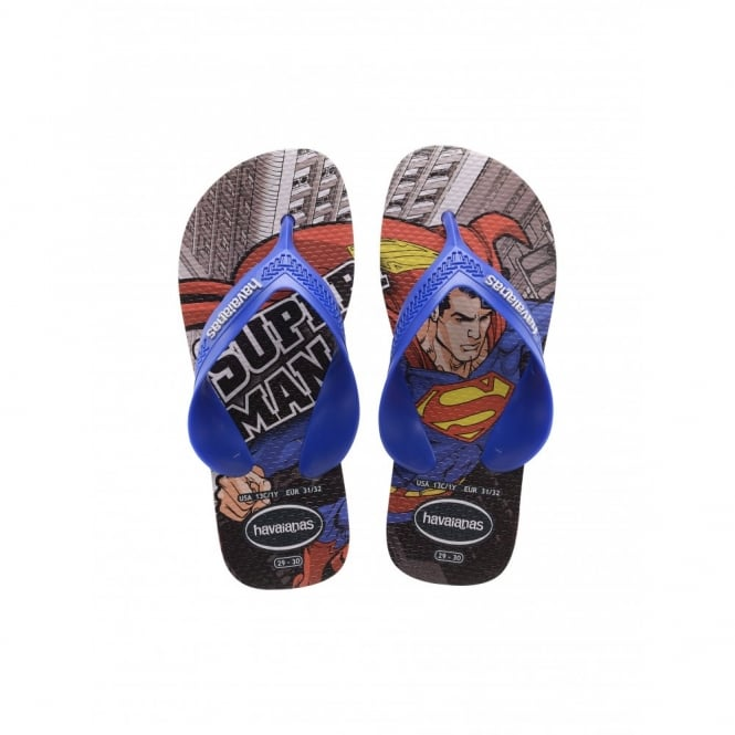 Havaianas Kids Max Heroes Superman Black/Red, the original flip flop with elastic back strap