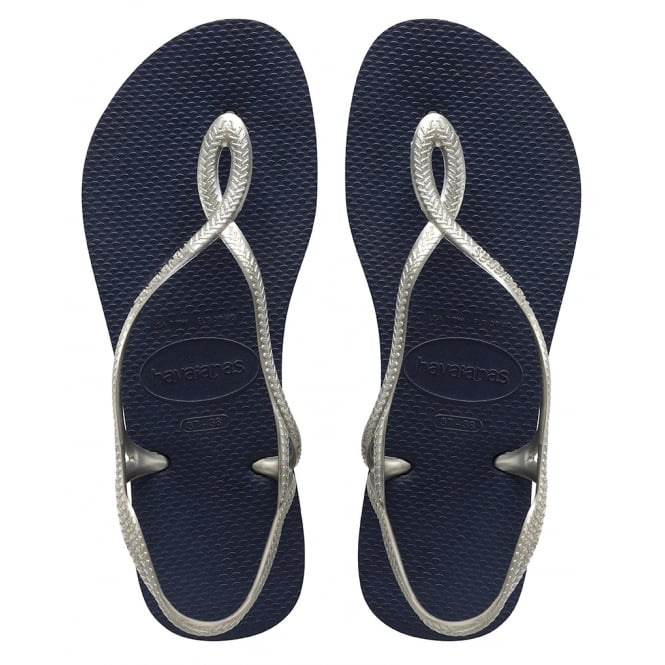 Havaianas Luna Navy/Silver, with back strap for extra security