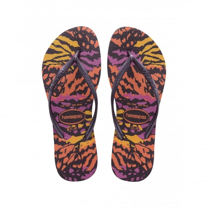 Havaianas Slim Animals Aubergine, Womens fit with fun animal print