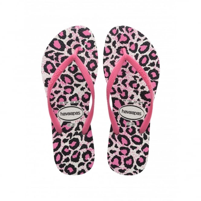 Havaianas Slim Animals White/Rose, Womens fit with fun animal print