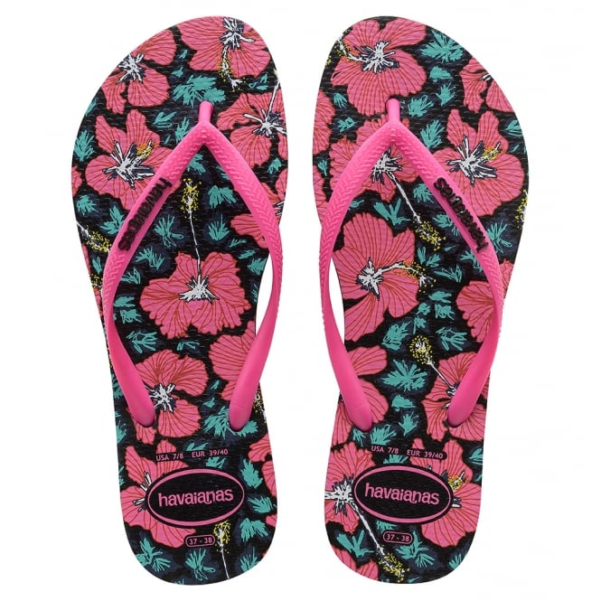 Havaianas Slim Floral Black/Orchid Rose, flower power