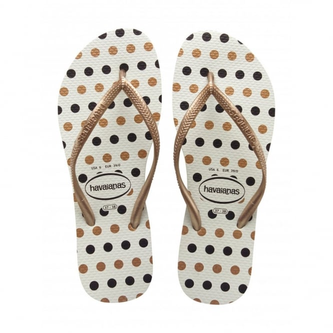 Havaianas Slim Fresh White/Rose Gold, Slim ladies fit with fun polka dot