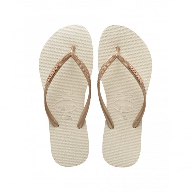Havaianas Slim Logo Metallic Beige, slim fitting flip flop